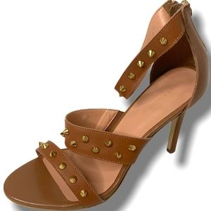 LE CHATEAU Leather Studded High Heel Tan Sandals